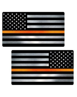 "Thin Orange Line Flag ""CLEAN"" MIRRORED Sticker 2 Pack LAMINATED tattered Search Rescue EMS USA Vinyl Decal Lives Matter Memorial Car Truck Bumper Winshield Design"