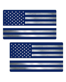 "Thin White Line Flag ""CLEAN"" Sticker 2 Pack LAMINATED tattered EMS USA Vinyl Decal Lives Matter Memorial Car Truck Bumper Winshield Design"