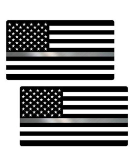 "Thin Silver Line Flag ""CLEAN"" Sticker 2 Pack LAMINATED tattered Corrections Officer USA Vinyl Decal Lives Matter Memorial Car Truck Bumper Winshield Design"