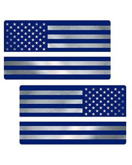 "Thin White Line Flag ""CLEAN"" MIRRORED Sticker 2 Pack LAMINATED tattered EMS USA Vinyl Decal Lives Matter Memorial Car Truck Bumper Winshield Design"