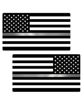 "Thin Silver Line Flag ""CLEAN"" MIRRORED Sticker 2 Pack LAMINATED tattered Corrections Officer USA Vinyl Decal Lives Matter Memorial Car Truck Bumper Winshield Design"