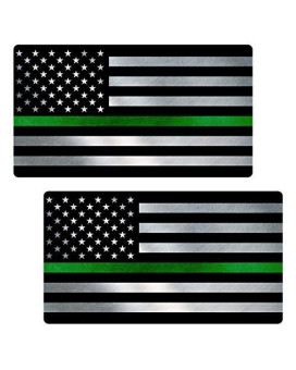 "Thin Green Line Flag ""CLEAN"" Sticker 2 Pack LAMINATED tattered Park Ranger Border Patrol USA Vinyl Decal Lives Matter Memorial Car Truck Bumper Winshield Design"