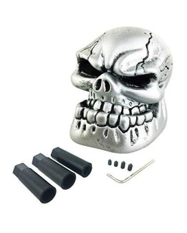 Arenbel Universal Manual and Automatic Car Gear Stick Shifter Knob Silver Skull Shift Lever Fit Most Cars