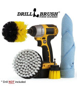 Drill Brush Automotive Detailing Drill Accessory Spin Scrubber Set -Save Time Cleaning Auto Wheels, Car Seats, Car Mat - Clean Your Car or Truck Faster and Easier Than Traditional Hand Scrubbing