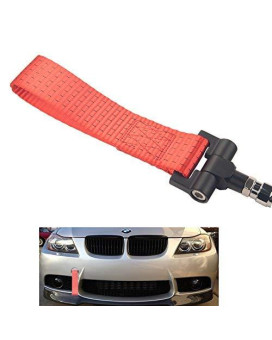 Dewhel Track Racing Style Tow Hook W/ Red Towing Strap Front Rear Bumper Screw On For Bmw 1 3 5 Series X5 X6 E36 E39 E46 E82 E90 E91 E92 E93 E70 E71 Mini Cooper