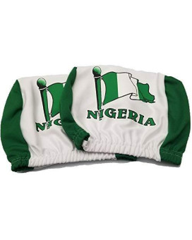 Nigeria Headrest Cover Nigerian Flag Fit For Cars Vans Trucks-Sold By A Pairs