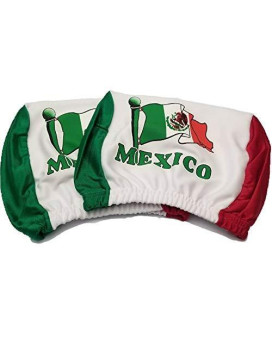 Mexico Headrest Cover Mexican Flag Fit For Cars Vans Trucks-Sold By A Pairs