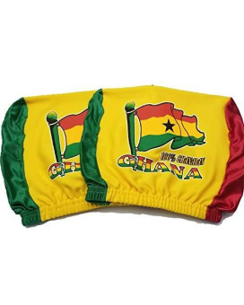 Ghana Headrest Cover Ghanaian Flag Fit For Cars Vans Trucks-Sold By A Pairs