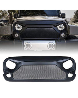 Xprite Jeep Wrangler JK JKU Grill, Gladiator Vader Grille with Mesh for 2007-2018 Jeep Rubicon Sahara Sport