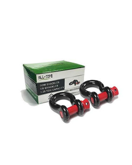 """ALL-TOP Shackles 5/8"""" (2 Pack) D Ring Shackle - Black Powder Coated Shackles (3.25 Ton / 7165 lbs Capacity). Must-Have Towing Accessories"""