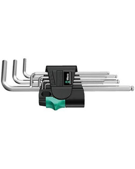 Wera Stainless 3950 PKL/9 Ball-point Metric Hex-Plus Ergonomic L-Key Set with Two-Component Storage Clip, 9-Piece