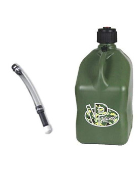 VP 5 Gallon Square Camo Racing Utility Jug with Deluxe Filler Hose