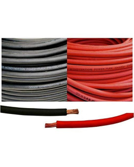 WINDYNATION 6 Gauge 6 AWG 25 Feet Black + 25 Feet Red Welding Battery Pure Copper Flexible Cable Wire -- Car, Inverter, RV, Solar