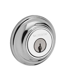 Baldwin Reserve SCTRD260S Single Cylinder Traditional Round Deadbolt with Smartkey Bright Chrome Finish