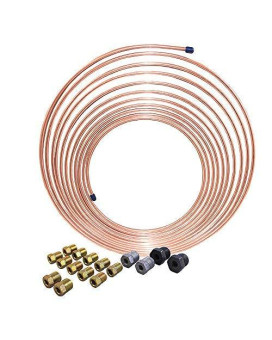 25 Ft 3/16 In Brake Line Kit, Universal Size - Copper-Nickel Tubing Coil (Includes Fittings)