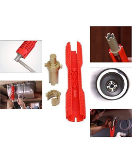 WREOW Multifunctional Faucet Wrench,Double Head Sink Installer Tool Water Pipe Spanner Tackle For Plumbers And Homeowners (red)