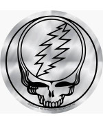 """Grateful Dead - 4"""" Shiny Silver Chrome Steal Your Face - Sticker / Decal"""