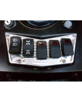 50 Caliber Racing CNC Billet Aluminum Dash Panel Black W/5 Switches for RZR 570, 800, S, Xp, and Xp900