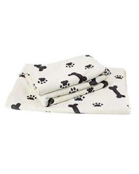 "Zwipes 781 White with Black Bone/Paw Print Extra Large (30"" x 36""), Microfiber Pet Towels, 2-Pack Soft Terry Cleaning Cloths, 2 Pack"