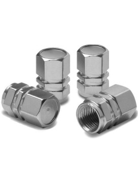 Hexagon Style Polished Aluminum Silver Chrome Tire Valve Stem Caps (Pack of 4)