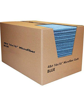 Zwipes Professional Premium Microfiber Cleaning Cloth Towel Case, 16x16 inch, 48-Pack, Blue