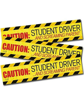 "Zento Deals ""Caution Student Driver And Screaming Parent Car Magnet Funny New Driver Magnet 12"" X 3"" (3 Pack)"
