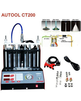 Autool CT-200 6/4 Cylinder Car Auto Ultrasonic Injector Cleaning Tester machine 110V Support Motorcycle Fuel Cleaning Tools