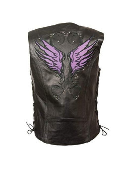 Milwaukee WOMEN'S MOTORCYCLE RIDING LEATHER VEST W/PURPLE WINGS DETAILING SIDE LACE BLACK (5XL)