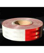Moyishi Reflector Dot Tape Roll,30Pcs 9 Meters Red/White, Caution Safety Warning Reflective, Visibility Film,Truck Car Trailer Adhesive Sticker