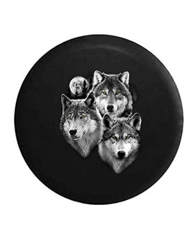 White Grey Wolf Family in The Moonlight Spare Tire Cover fits SUV Camper RV Accessories 35 in