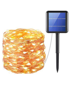 AMIR Upgraded Solar Powered String Lights, 200 LED Copper Wire Lights, 72ft 8 Modes Starry Lights, Waterproof IP65 Fairy Christmas Decorative Lights for Outdoor, Wedding, Homes, Party (Warm White)