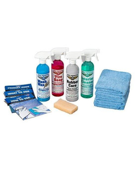 Aero Cosmetics Complete Car Care Kit - Wash Wax All, Interior Cleaner, Tire Soap, Rubber Conditioner, Aircraft Grade & Quality for Your Car, Boat & RV