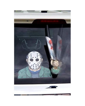 Wipertags Masked Machete Killer With Decal Attaches To Rear Vehicle Wiper