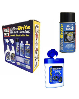 "Bike Brite Motorcycle Detailing Kit 67 Fl. Oz., Powder Coated Engine And Wheel Cleaner 9.Fl Oz And White/Blue 3"" X 4.5"" X 1.5"" Bike Wipes"