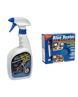 Bike Brite Blue Motorcycle Spray Wash Cleaner And Degreaser - 32 Fl. Oz. And Blue Buster Polishing Kit