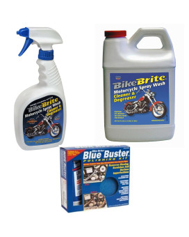 Bike Brite Blue Motorcycle Spray Wash Cleaner And Degreaser 32 Fl Oz, Refill Spray Wash Cleaner And Degreaser 64 Fl Oz And Blue Buster Polishing Kit