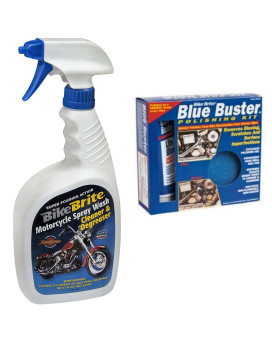 Bike Brite Blue/White Motorcycle Spray Wash Gift Pack - 32 Fl. Oz And Blue Buster Polishing Kit