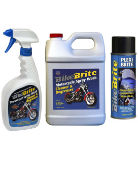 Bike Brite Blue Motorcycle Spray Cleaner And Degreaser, Refill Wash Cleaner And Degreaser - 1 Gallon And Clear Plastic Cleaner/Polisher, 14 Fl. Oz.