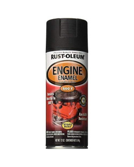 Rust-Oleum 248938 Automotive Rust Preventive Engine Enamel Spray Paint, 12 Oz Aerosol Can, Low-Gloss, Black