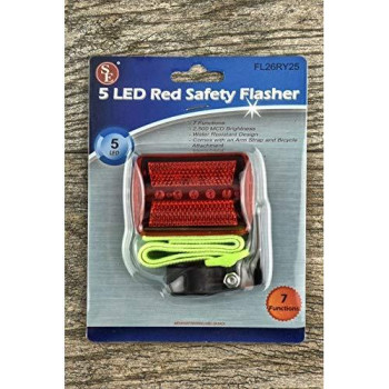 Se Fl26Ry25 5-Led Red Safety Flasher With Bicycle Attachment And Arm Strap