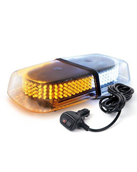 Xprite White Amber 240 Led Roof Top Mini Bar, Truck Car Vehicle Law Enforcement Emergency Hazard Beacon Caution Warning Snow Plow Safety Flashing Strobe Light With Magnetic(Other Color Available)