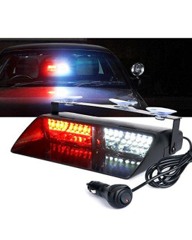 Xprite White Red 16 Led High Intensity Led Law Enforcement Emergency Hazard Warning Strobe Lights For Interior Roof/Dash / Windshield With Suction Cups