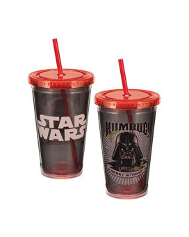 """Vandor 99214 Star Wars Darth Vader """"Humbug"""" 18 Oz Acrylic Travel Cup With Lid And Straw, Black, Green, And White"""