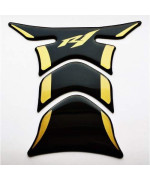 Rz Moto Fit Yamaha Yzf R1 Yzf-R1 Piano Black + Matt Gold Motorcycle Tank Protector Pad Decal Sticker