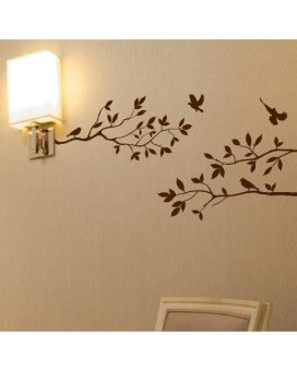 """Tree Branches Wall Decal With Birds Vinyl Sticker Nursery Leaves 40"""" Wide X 18"""" High As Shown (Matte Brown)"""