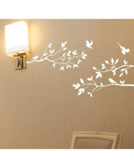 """Tree Branches Wall Decal With Birds Vinyl Sticker Nursery Leaves 40"""" Wide X 18"""" High As Shown (Matte White)"""
