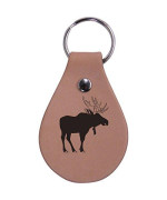 Personalized Engraved Moose Genuine Custom Leather 3-Inch Customizable Keychain