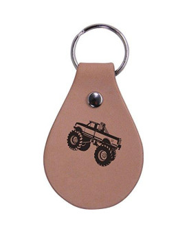 Personalized Engraved Monster Truck Genuine Custom Leather 3-Inch Customizable Keychain