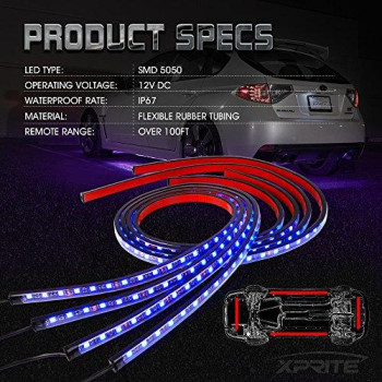 Xprite Car Underglow Underbody System Neon Strip Lights Kit w/ Sound Active Function and Wireless Remote Control 5050 SMD LED Light Strips