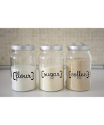 Kitchen Canister Decals, Flour, Sugar, Coffee Kitchen Decal Stickers (Canisters Not Included) Black Or White